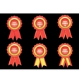 Set best choice red label with ribbons vector