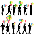 Black silhouettes of beautiful mans with balloons vector