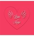 Love is magic phrase in heart frame vector