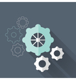 Flat gear wheel icons over blue vector