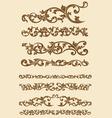 Javanese vintage floral ornament set vector