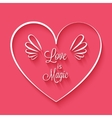 Love is magic phrase in heart frame vector