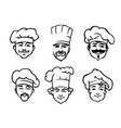 Set of six chef or cooks heads vector
