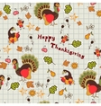 Autumn floral seamless with turkey vector