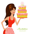 Beautiful woman with birthday cake for your design vector