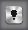 Light bulb icon - metal app button vector