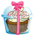 A disposable cub with a cupcake vector