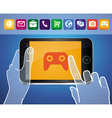 Mobile phone with hands and game icon vector