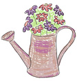 Watering can with flowers vector