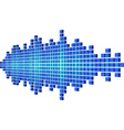 Perspective blue sound waveform made of cubes vector