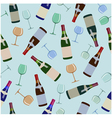 Seamless pattern bottles of wine and glasses vector