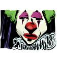Sad clown drawing vector