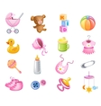 Toys and accessories for baby girl vector