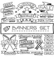 Hand drawn banners and tag icons set vector