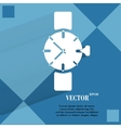 Watchclock flat modern web button on a flat vector