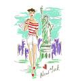 Fashion girl in new york vector