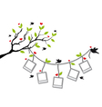 Tree with photo frames and birds vector