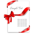 Greeting card with a red ribbon vector