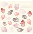 Vintage cupcake card cupcakes hand-drawn with vector