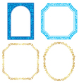 Set - blue and golden frames with plants vector