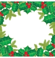Christmas background with holly berry leaves on vector