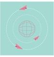Origami paper plane and world globe dash line vector