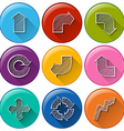 Circle buttons with different arrows vector