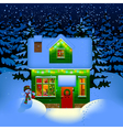 Night christmas house vector