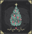 Vintage christmas tree chalkboard hand drawn set vector