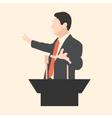 Orator speaks with broad gestures behind a podium vector