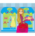 Beautiful woman doing the shopping in winter vector