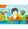 Female travel agent holding globe with pointers vector