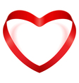 Heart from red silk ribbon vector