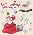 Christmas decorative collection merry christmas l vector