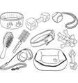 Dog accessories - pet equipment hand-drawn vector
