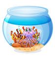A squid inside the aquarium vector