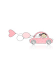 Smiling girl behind wheel pink car for your design vector