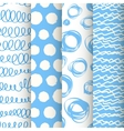 Set of 4 blue and white doodle seamless patterns vector
