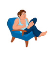 Cartoon man in blue top sitting in armchair with vector