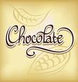Inscription chocolate - calligraphic text vector