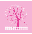 Funny cats on spring tree for your design vector