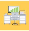 Computer desk workplace vector