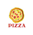 Pizza with tomato sausage and mushrooms vector