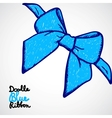 Blue bow doodle vector