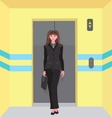 Businesswoman in front of an elevator - vector