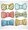 Doodle style bow tie mens clothing assortment vector