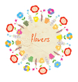 Abstract floral frame with pots vector