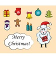 Cartoon set of christmas icons vector