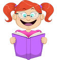 Girl with glasses reading from book vector