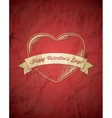 Crumpled vintage valentines day card with ribbon vector